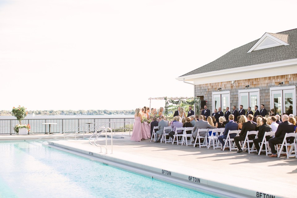 Rumson Country Club Riverhouse wedding ceremony photographed by Ashley Mac Photographs