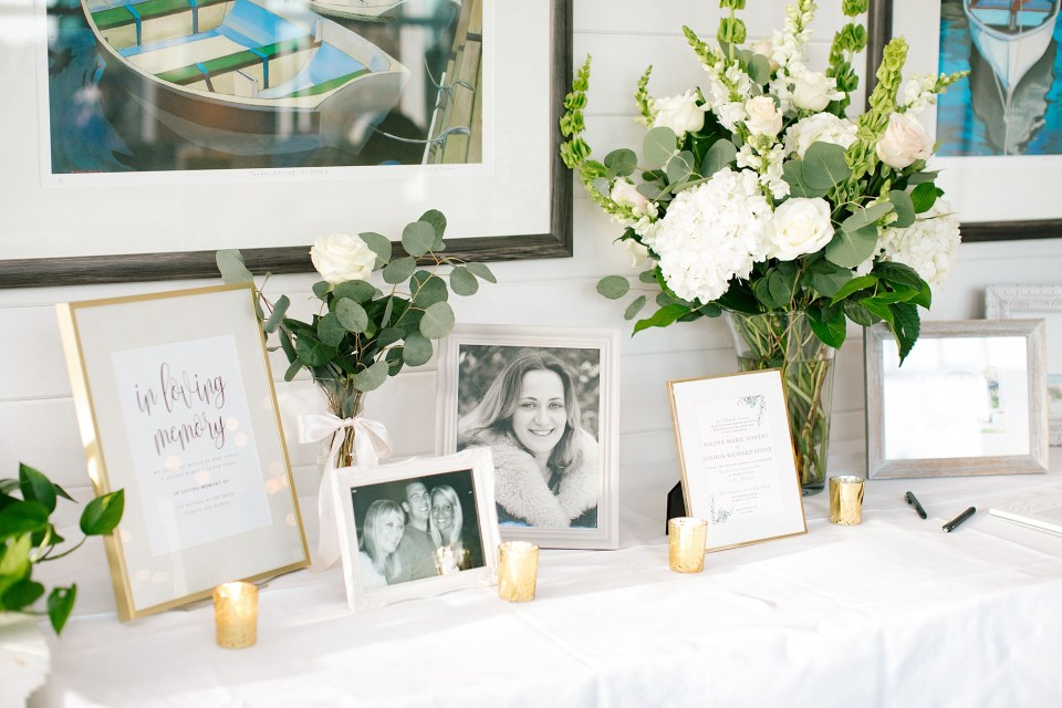 memory table at Rumson Country Club Riverhouse wedding reception photographed by Ashley Mac Photographs