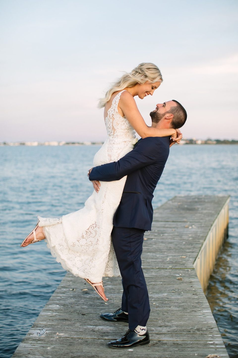 wedding photos along the water with Ashley Mac Photographs