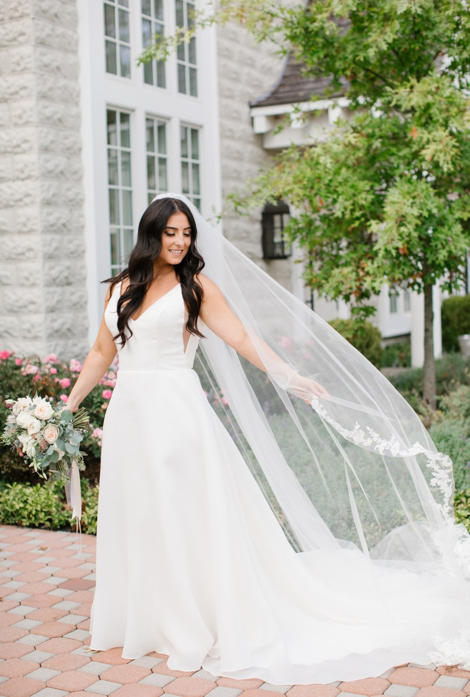 classic wedding portrait of bride in Christina Wu gown by Ashley Mac Photographs