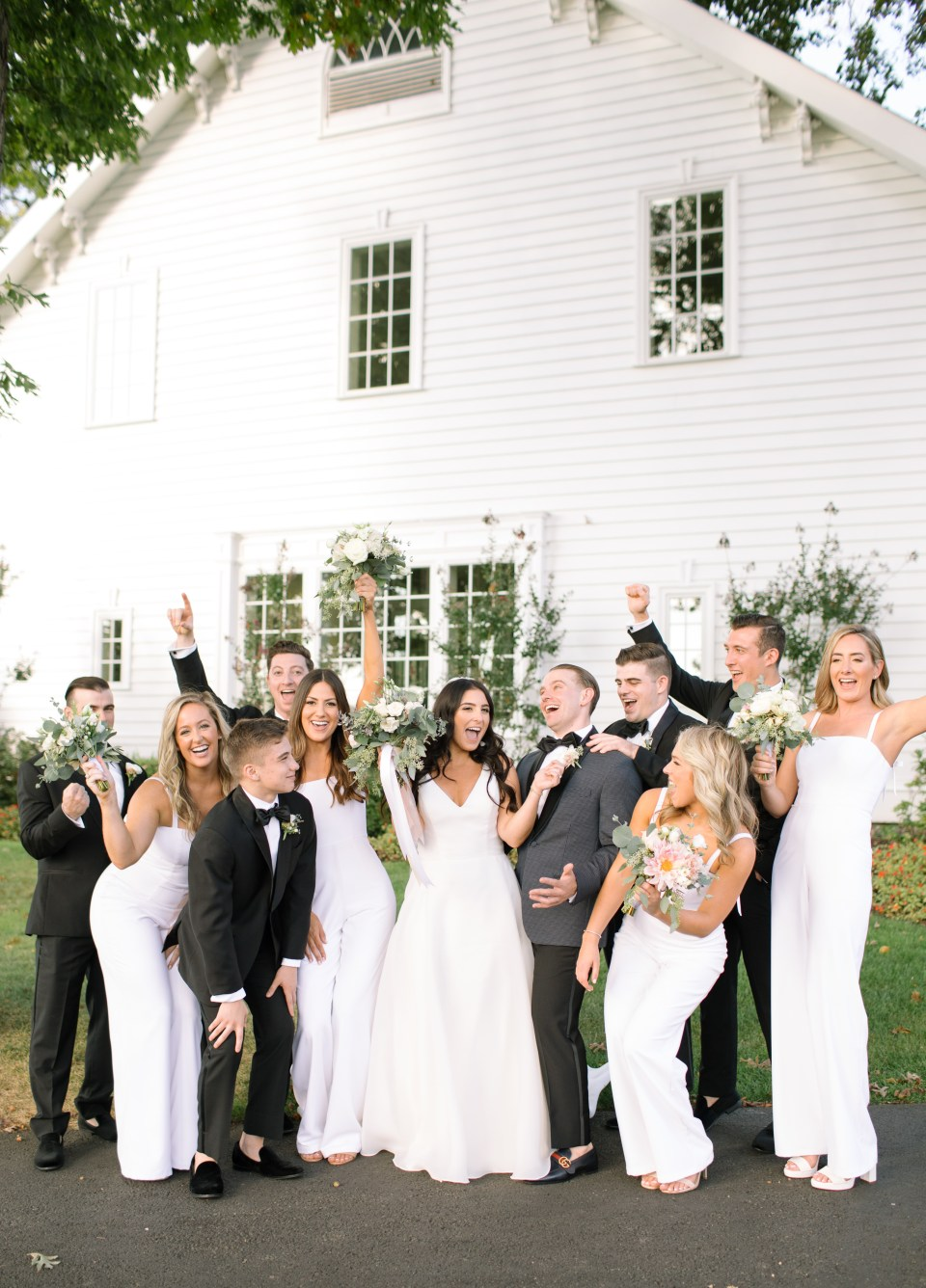 joyful bridal party at Ryland Inn with Ashley Mac Photographs