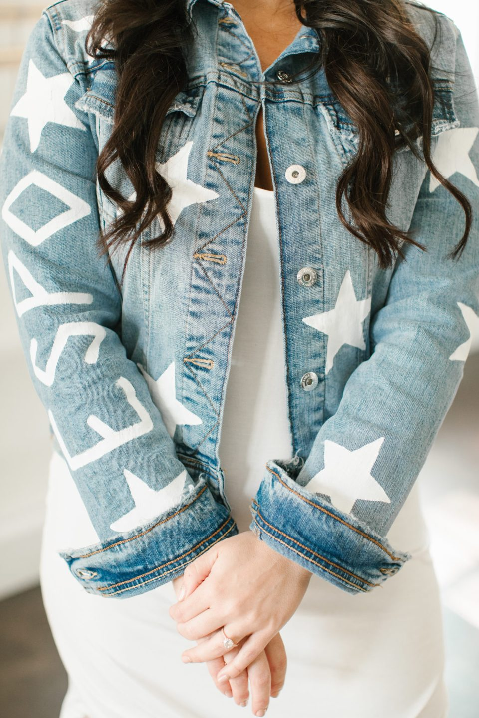 custom jean jacket for bridesmaid photographed by Ashley Mac Photographs