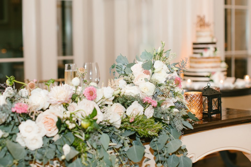 pink and ivory wedding reception centerpieces photographed by Ashley Mac Photographs
