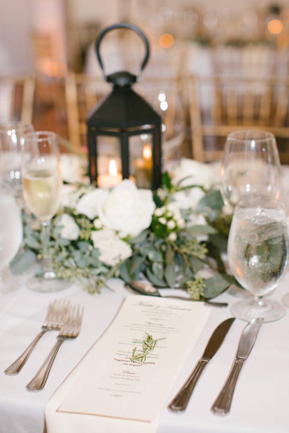 Ashley Mac Photographs photographs wedding table details at Ryland Inn