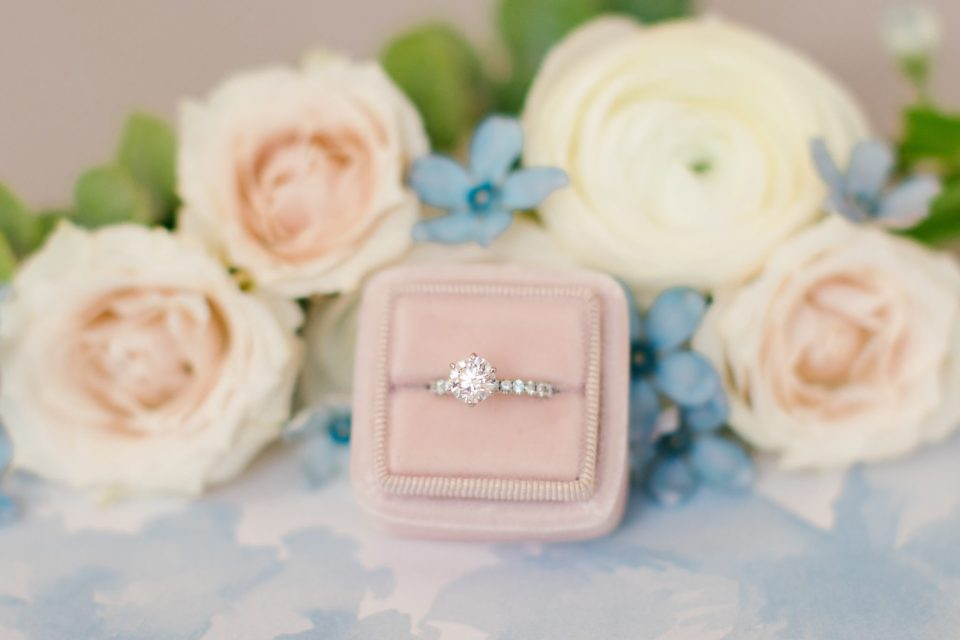 Ashley Mac Photographs photographs bride's ring in blush box
