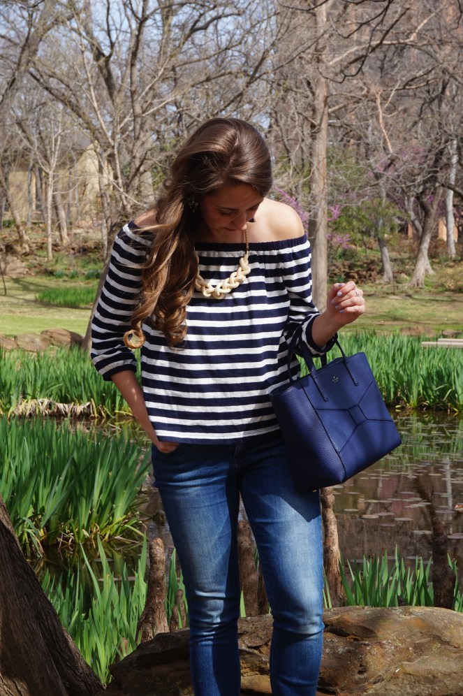 J Crew Factory navy striped off the shoulder top