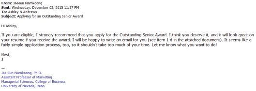 Outstanding Senior Award Recommendation