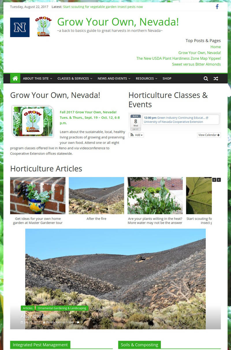 Decorative screenshot of Grow Your Own, Nevada! website