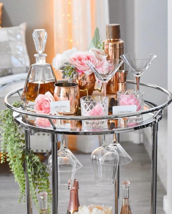 Ashley Nicole Interiors Valentine's Day Bar Cart Copper & Blush