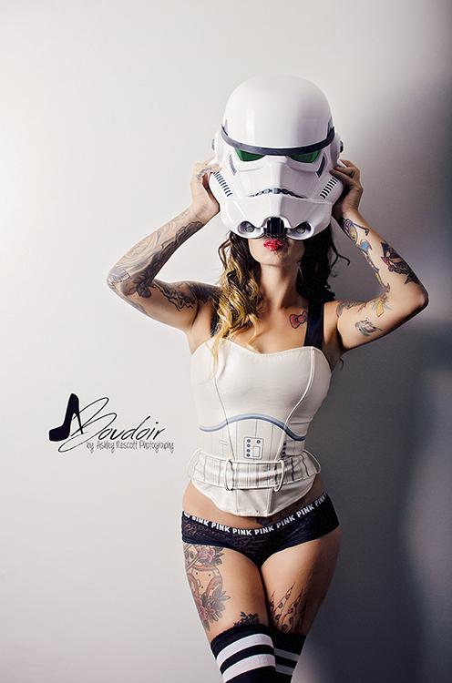 sexy stormtrooper taking off helmet, star wars boudoir