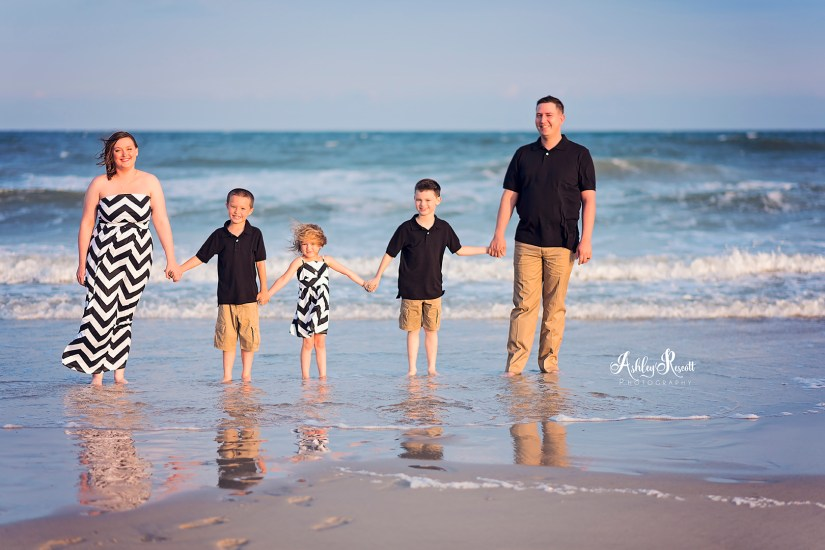 family in water at beach