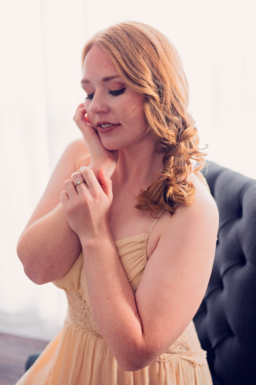 woman with eyes closed and soft hands