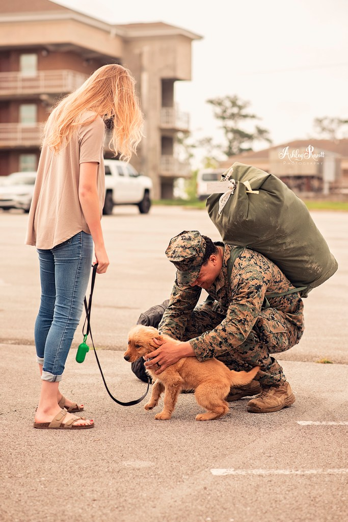 marine petting puppy at homecoming