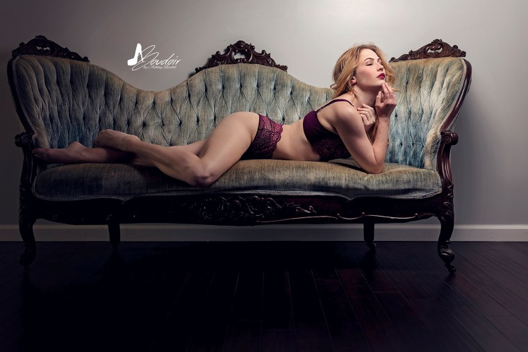 woman in underwear on couch
