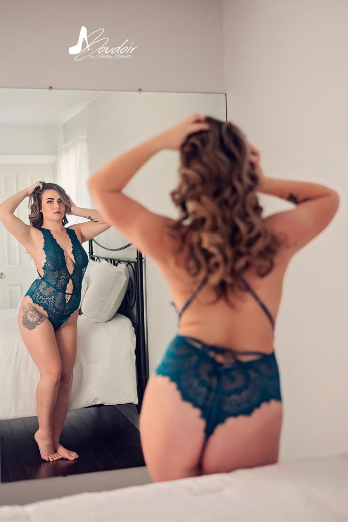 natural light boudoir image in bedroom set for portfolio purposes