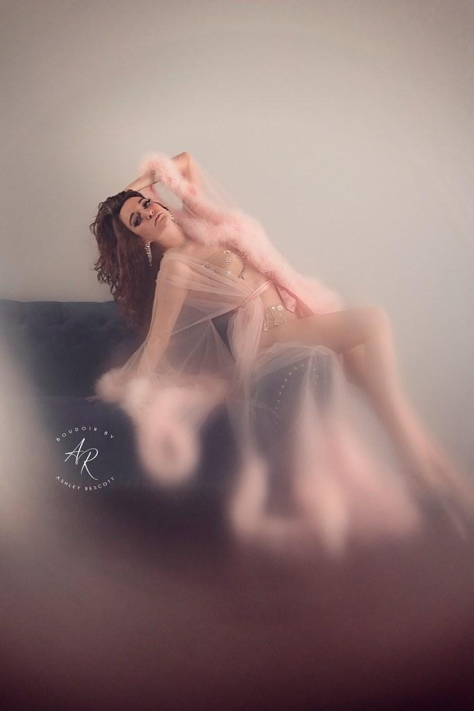 Natural light boudoir portfolio image, in camera blurring effect