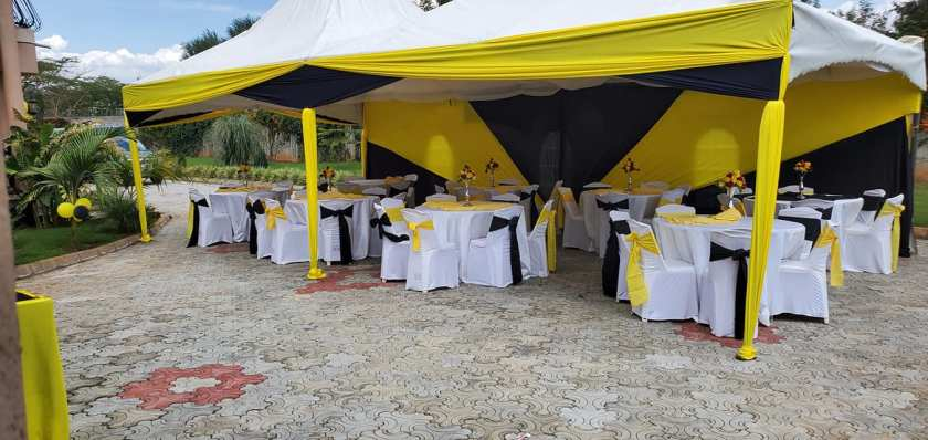 Yellow and Black event deco