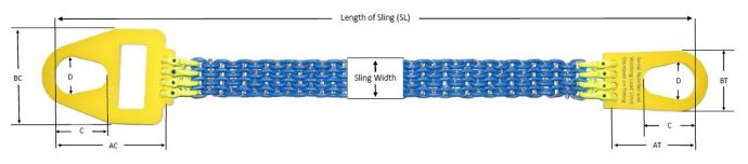 specifications measurements of alloy chain mesh sling