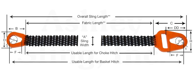 Wire Mesh Sling Dimensions