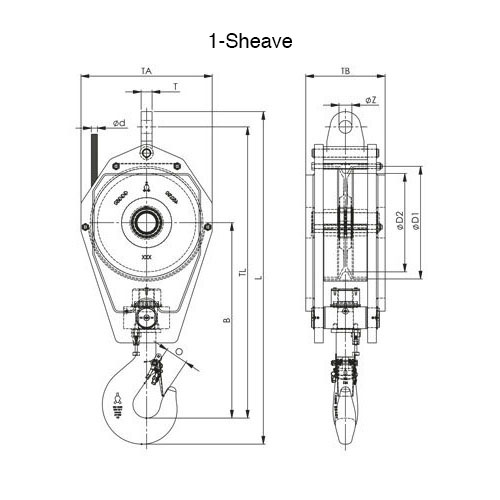 1 Sheave Standard Reeve Block Drawing