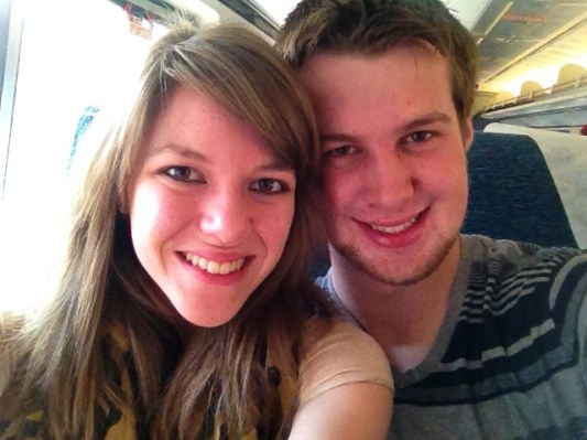 On the train to Washington D.C. with my man.