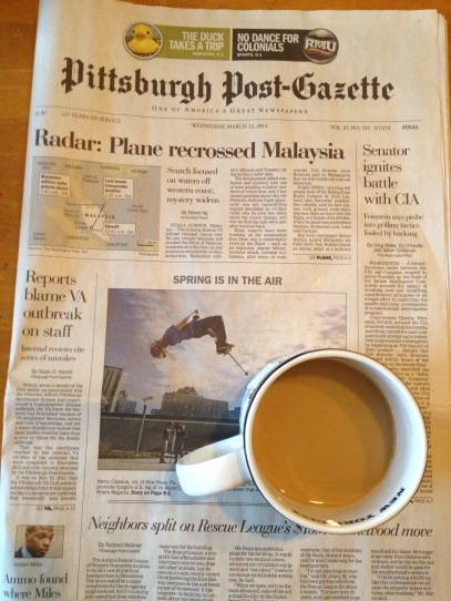 Morning coffee and the paper