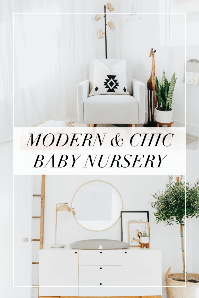 Baby Boy Nursery ideas featured by top Los Angeles life and style blogger, Ashley Hodges: white curtains, plant, round gold mirror, white set of drawers