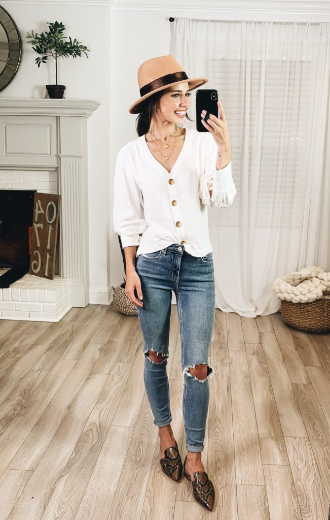 Nordstrom Anniversary Sale 2019 Try-On Haul by popular US fashion blogger, Ashley Hodges: image of woman standing inside her house wearing a Bishop Long Sleeve Blouse, Nordstrom Toby Flat, Madewell Ripped High Waist Skinny Jeans, Goodnight Necklaces, 3ct Cubic Zirconia Earrings and Shine Trim Wool Fedora Hat.