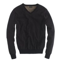 J.Crew Slim Heather Black Cotton V-Neck Sweater