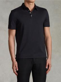 John Varvatos Black Silk Cotton Hampton Polo