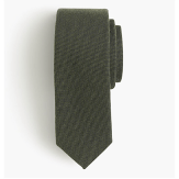 J. Crew English Wool Silk Oxford Olive Tie
