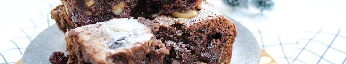 Brownie met cranberry en amandelen