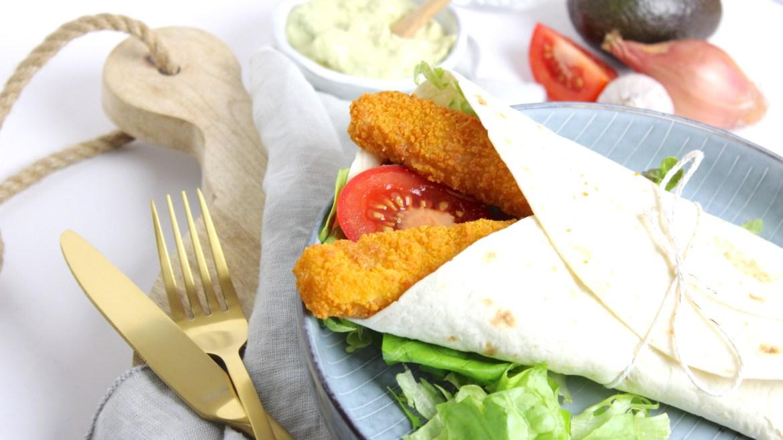 Wraps met Vissticks en guacamole