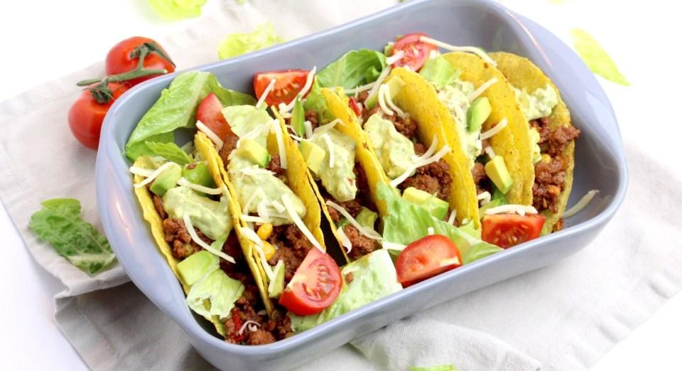 Taco's met gehakt en guacemole