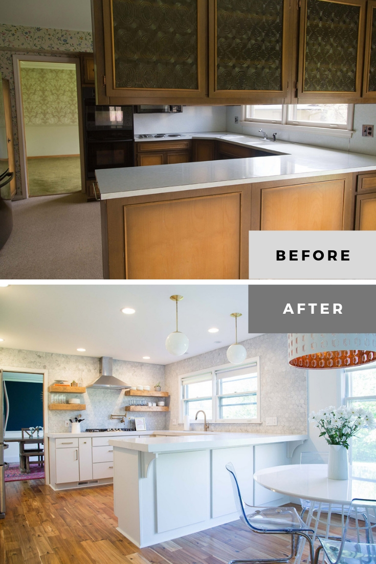 split level kitchen remodel before and after