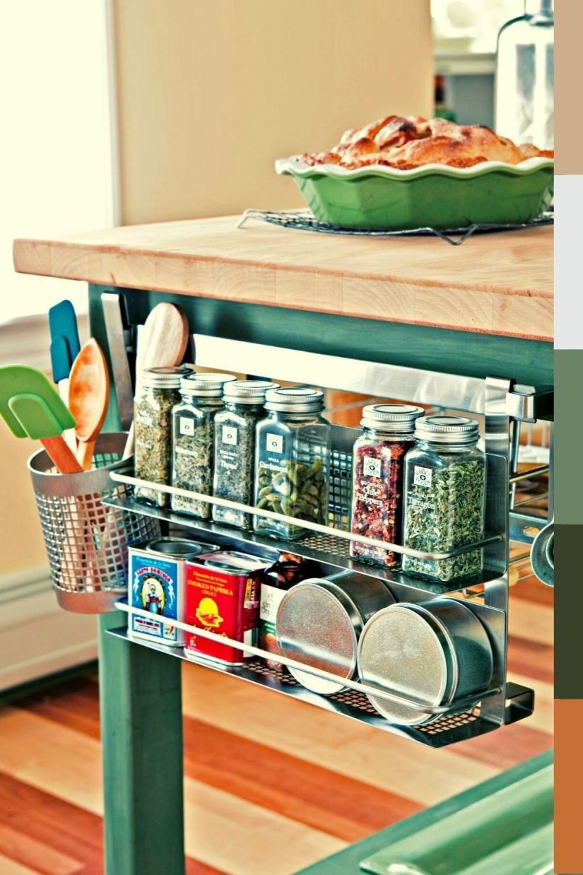 metallic hanging spice rack