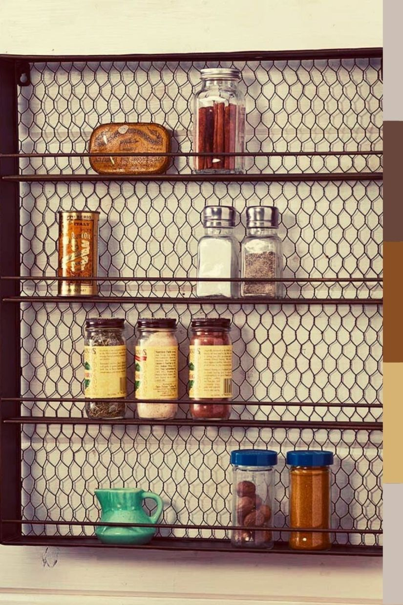farmhouse metal spice rack