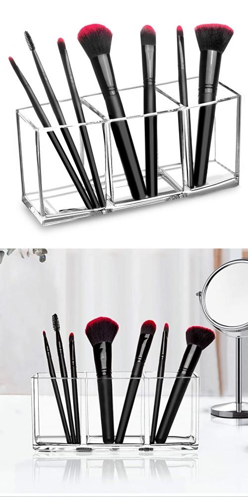 clear brush makeup storage