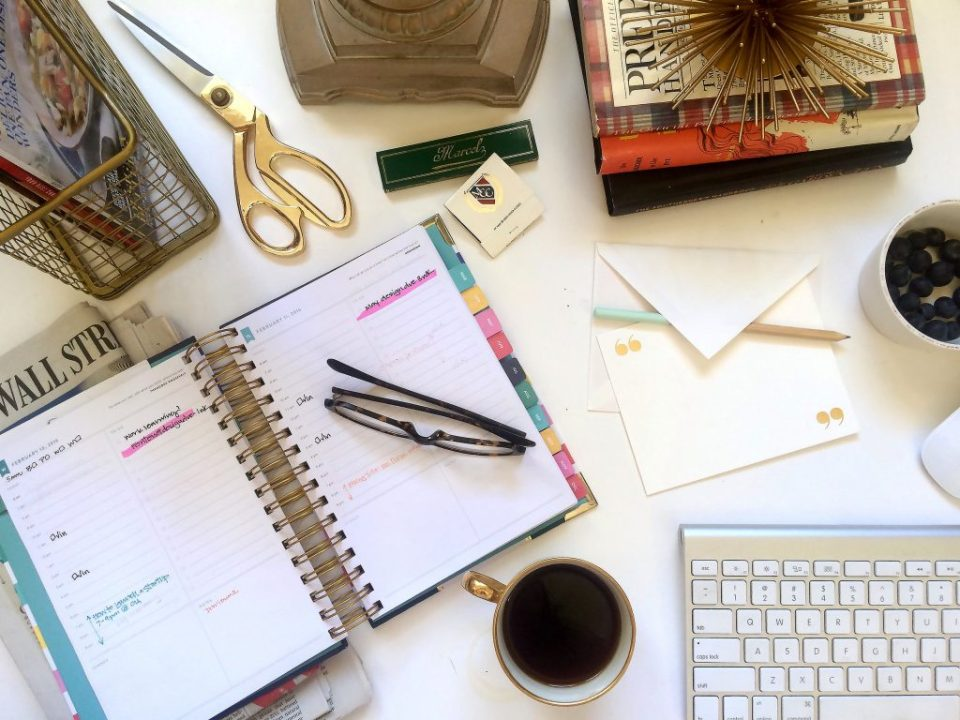 Flatlay desk from Ashlyn Writes creative copywriter and Atlanta calligrapher Ashlyn Carter