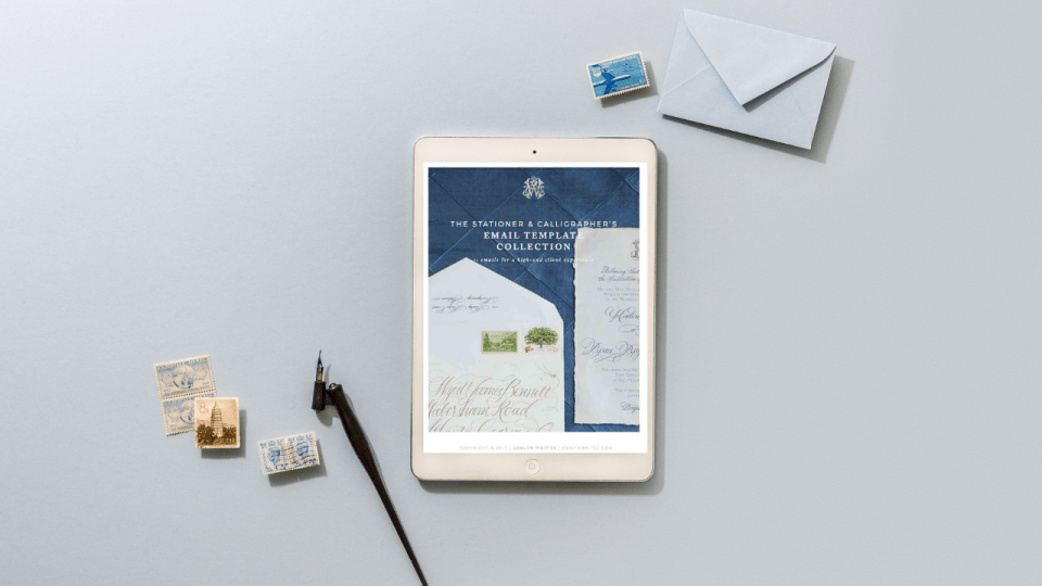 Calligraphy client email template downloads from Ashlyn Writes