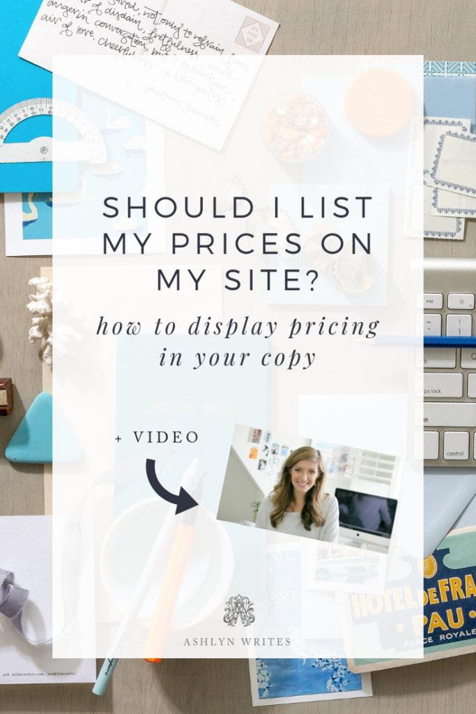 Should I list Prices on my site? AshlynWritesCopywriting