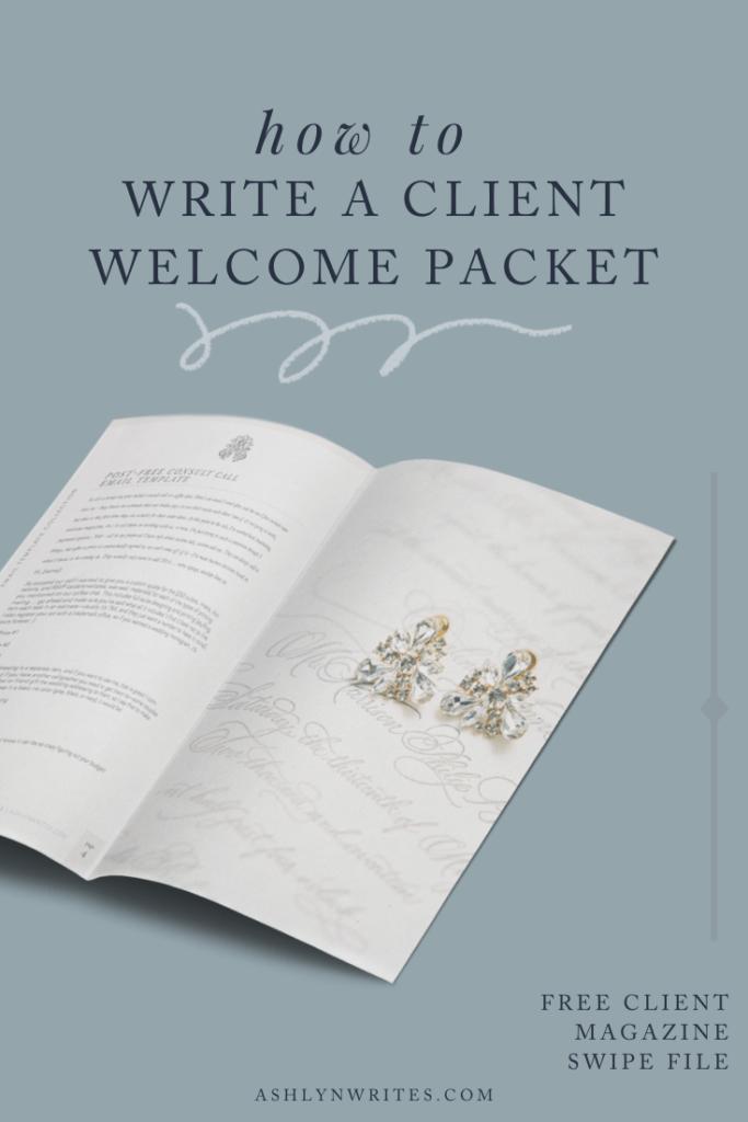 How to create a welcome packet by Ashlyn Carter of Ashlyn Writes creative copywriting tips