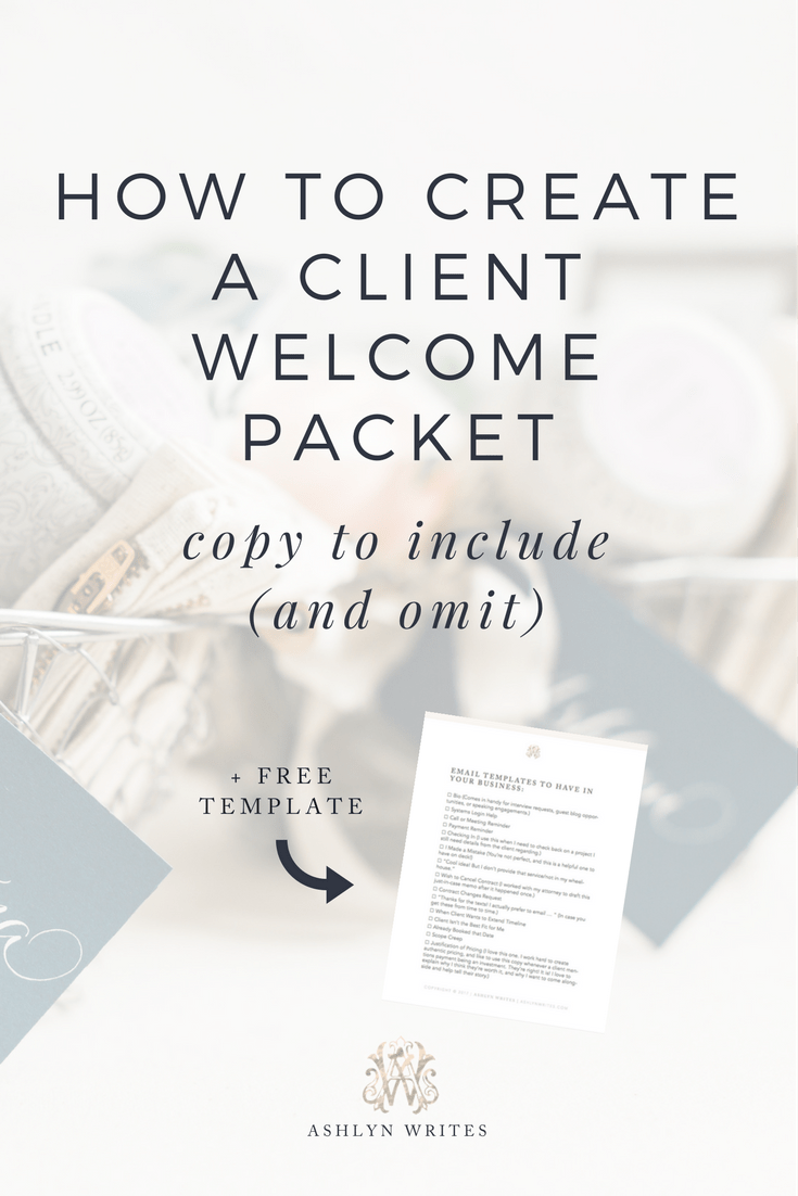 How to create a welcome packet by Ashlyn Carter of Ashlyn Writes creative copywriting tips