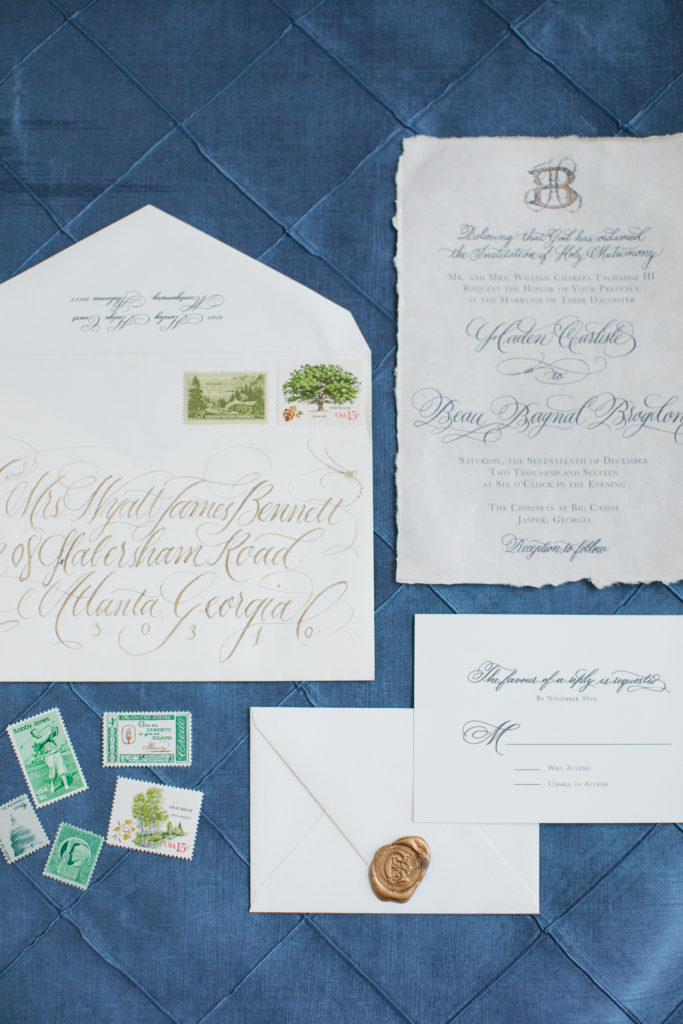 Ashlyn Carter Atlanta wedding calligraphy Georgia wedding The Chimneys at Big Canoe venue