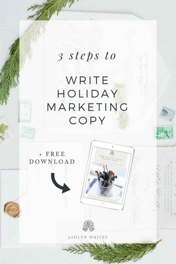 How to write holiday copy by creative copywriter Ashlyn Carter of Ashlyn Writes