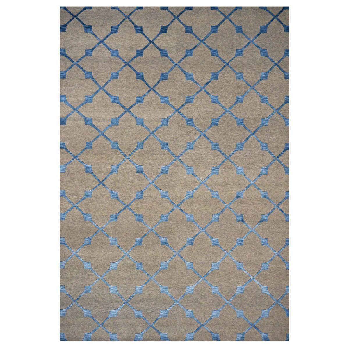 Area Rugs 1143457 Modern Wool And Silk 7 X 9 Indo Nepal Blue Rug