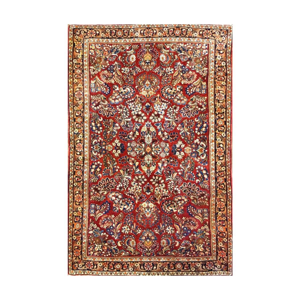 9902994 Sarouk 4 x 6 Persian Rug Red by Ashly Fine Rugs