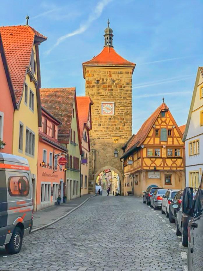 old brick roadway in Rothenburg ob der Tauber, Germany