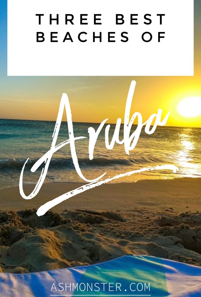 image of a beach sunset with a zavabay towel and sun in the back. Text says, three best beaches of Aruba ashmonster.com