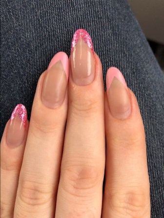 Chevron Nails with five weeks growth - The Ashmosphere